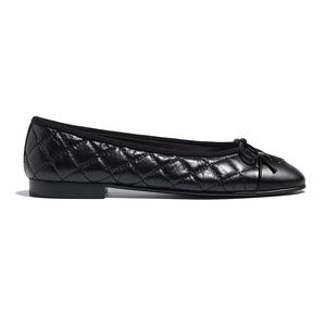 Chanel Black Quilted Flats